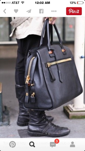 bag tote bag zip black bag black purse big purse