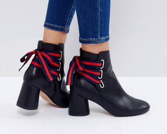 shoes ankle boots lace ribbon