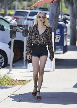 shorts denim shorts emma roberts sandals sunglasses blouse top