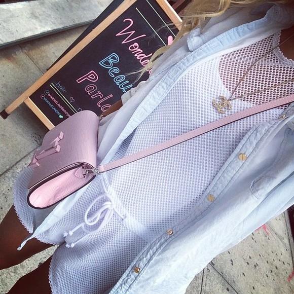 bag pink bag romper mesh mesh playsuit chanel necklace shoulder bag denim shirt