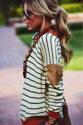 sweater,fall outfits,winter outfits,brown leather patches,leather,black,white,stripes,jewels,clothes,necklace,oversized sweater,red and cream,striped sweater