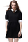 Retro lapel neck black dress, the latest street fashion