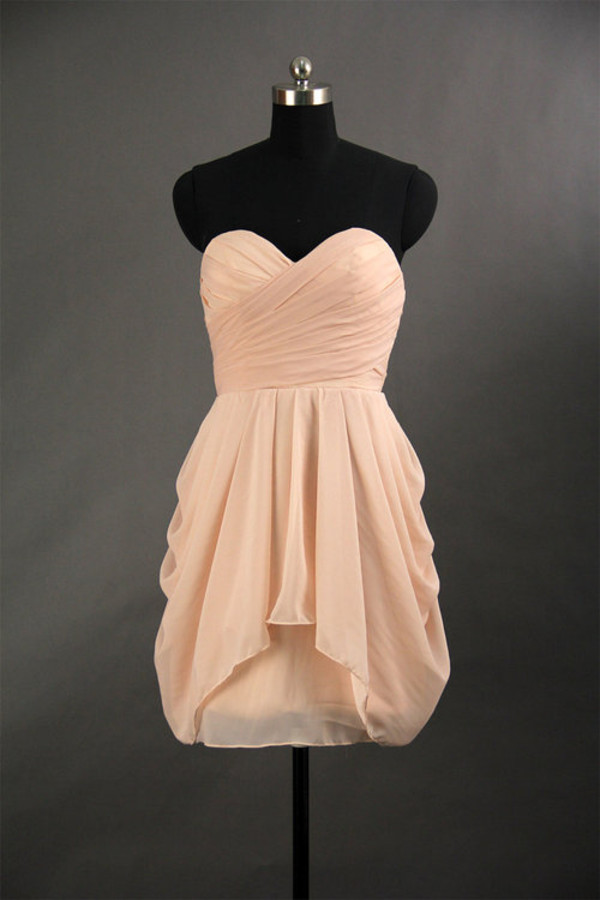 bridesmaid short prom dress short bridemaid dresses prom dress chiffon dress pink dress sweetheart dress dress