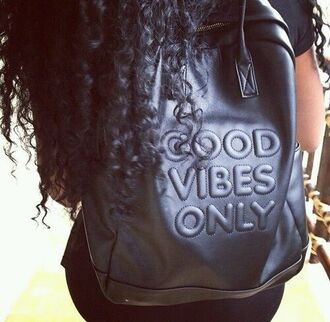 bag good vibes only black imprint leather bookbag leather bag vibes good vibes curly hair