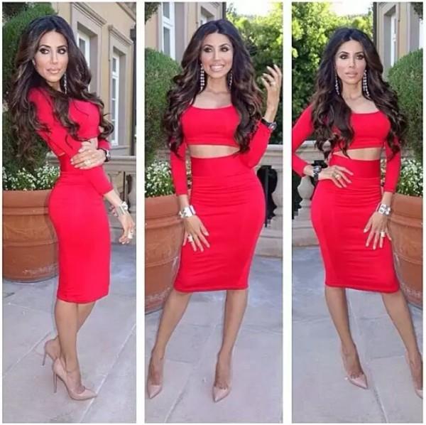 red dress skirt shoes earrings