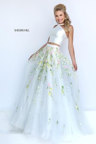 dress sherri hill white flowers white dress girl long dress cute lovely