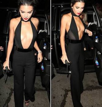 kendall jenner black tight bodycon bodycon dress cleavage cleavage dress jumpsuit bodysuit see through v neck all black everything