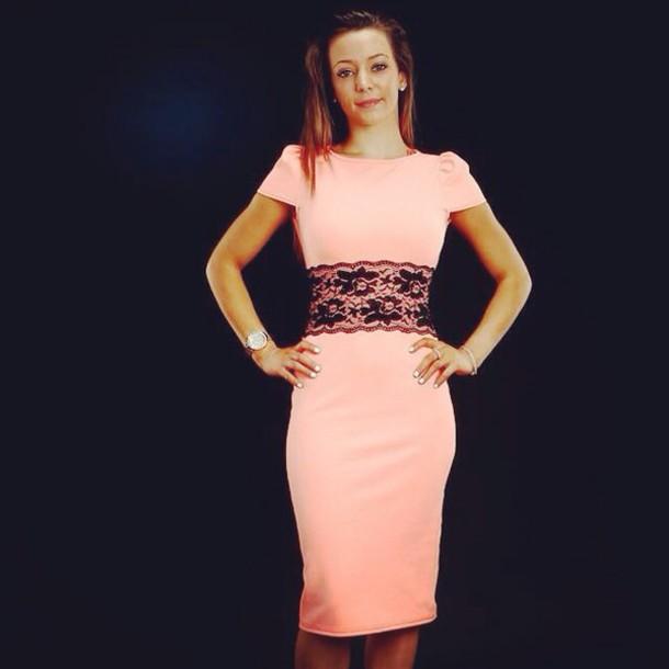 1f323d5a018c peach bodycon midi midi dress dress bodycon dress lace dress black pink  dress pastel pink pastel