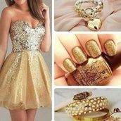 dress,gold,sparkle,nail polish,jewels