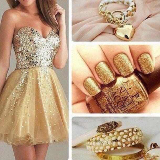 dress gold sparkle nail polish jewels