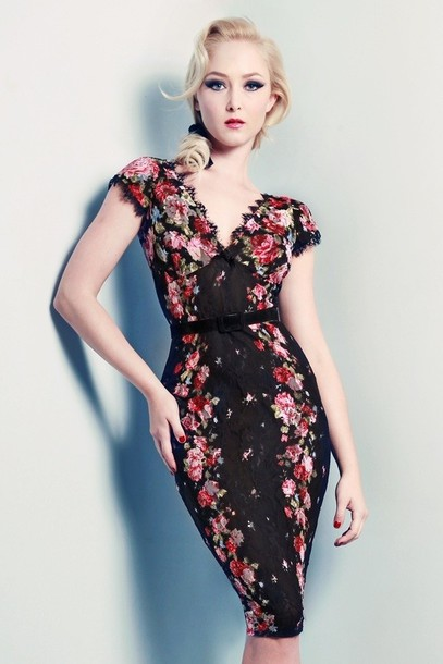 744df5f1904 dress, floral, pencil dress, wiggle, black, silky, lace - Wheretoget