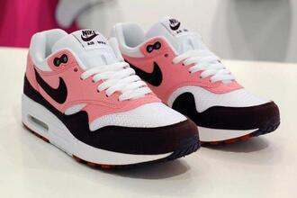 shoes air max nike running shoes trainers pink shoes nike sneakers nike air nike air max 1 pink nike sneakers sportswear swag black nike air force white rose blanc noir