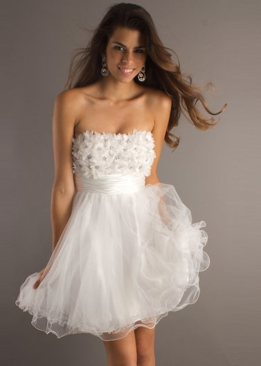 A-line Strapless Hand-Made Flower White Mini Tull Homecoming Dress [White Mini Tull Homecoming Dress] - $160.00 : Hot Sale Prom Dresses & Homecoming Dresses For Cheap
