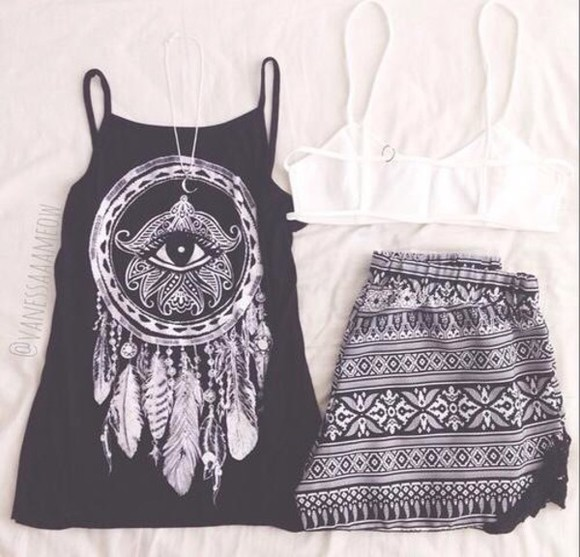 dreamcatcher eye black tank top feathers hippie t-shirt black and white tribal pattern short shirt black and white blouse