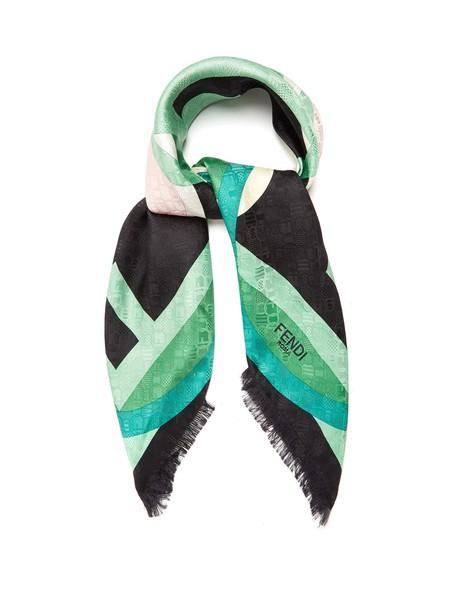 Fendi scarf silk scarf print silk green