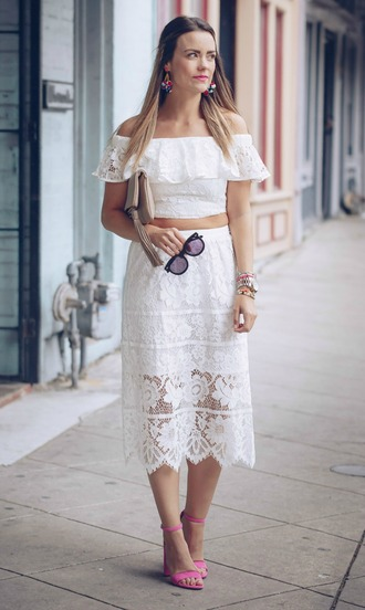 skirt midi skirt lace skirt ruffled top sandals blogger blogger style off the shoulder top