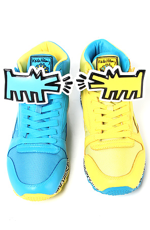 Reebok The Reebok x Keith Haring Classic Leather Mid Strap Lux Sneaker in Far Out Blue Boldly Yellow : Karmaloop.com - Global Concrete Culture