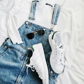 dress white top white sneakers sunglasses pinafore dress overalls denim dress