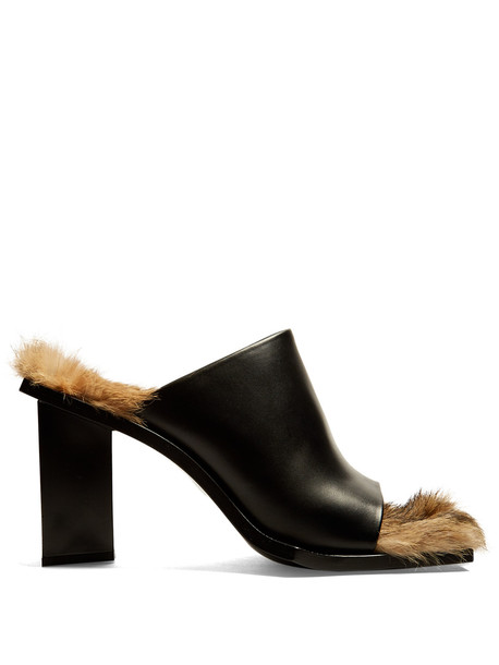 fur mules leather black brown shoes