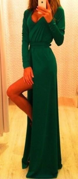 Green long sleeve v neck dress