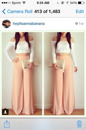 pants,fashion,girly,girl,clothes,instagram,classy,pretty,tumblr,style,spring,wide-leg pants,palazzo pants peach