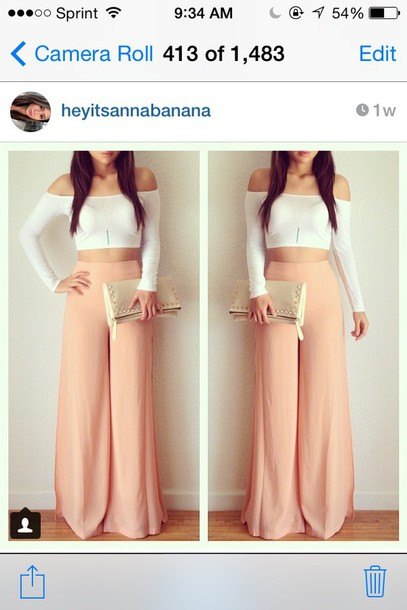 pants fashion girly girl clothes instagram classy pretty tumblr style spring wide-leg pants palazzo pants peach