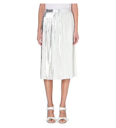 Tilt metallic pleated skirt