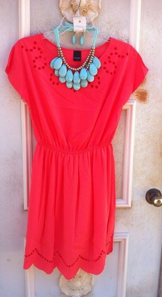 dress brigt bright dress cute dress cute outfits cute outfit pink coral necklace