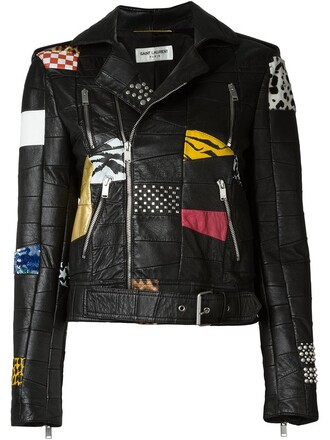 jacket biker jacket patchwork women leather cotton black