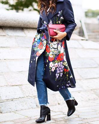 coat tumblr printed coat floral floral coat bag red bag gucci gucci bag denim jeans blue jeans boots black boots ankle boots high heels boots thick heel block heels streetstyle pointed toe boots