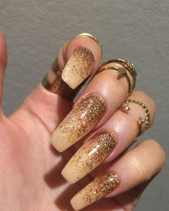 nail accessories acrylic nails tumblr girl nails gold nails knuckle ring gold ring
