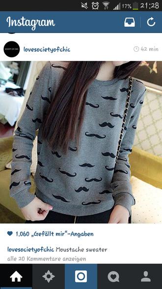 moustache grey sweater