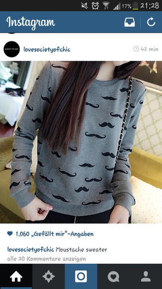 moustache grey sweater