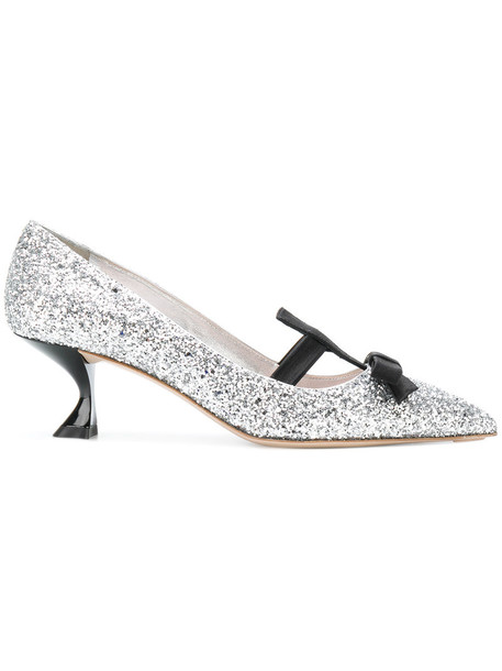 Miu Miu bow women pumps leather grey metallic shoes