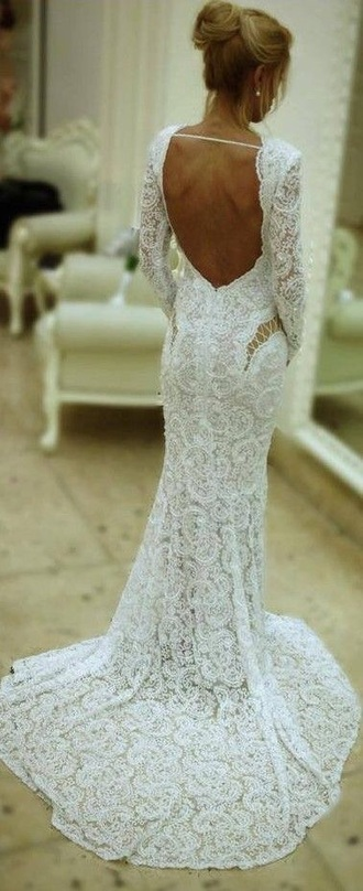 dress wedding dress open back long sleeve lace dress lace backless