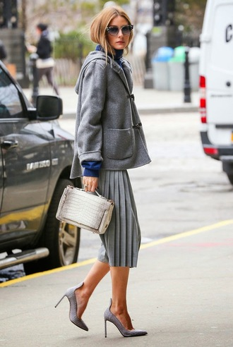 pants olivia palermo grey pumps shoes skirt snake snake print bag