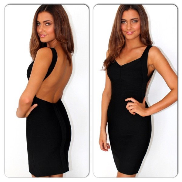 dress black backless bandage dress