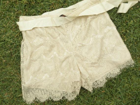Lace shorts cream lace shorts white lace shorts size by ChicUtopia