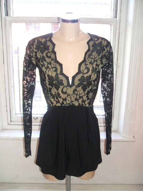 Baylis & knight black nude lace long sleeve low cut plunge mini short playsuit jumpsuit catsuit dita von teese 1940's chic