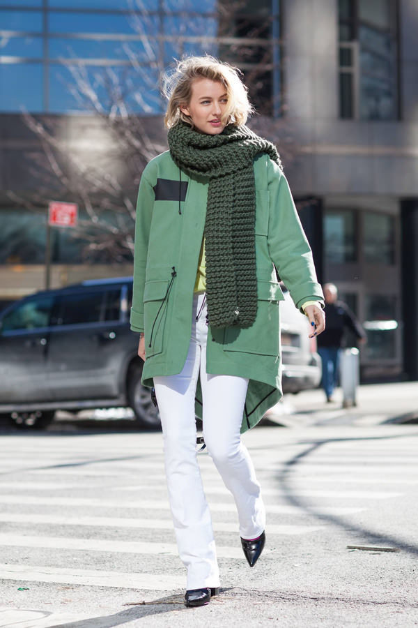 zanita blogger parka knitted scarf white pants scarf coat jeans shirt shoes