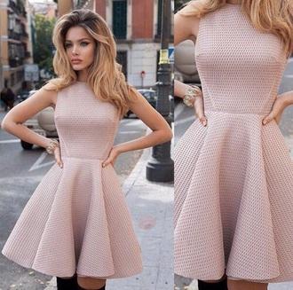 dress short nude dress nude short dress cocktail dress pink beige girly girly dress tumblr tumblr dress
