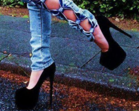 high heels jeans skinny pants bow jeans