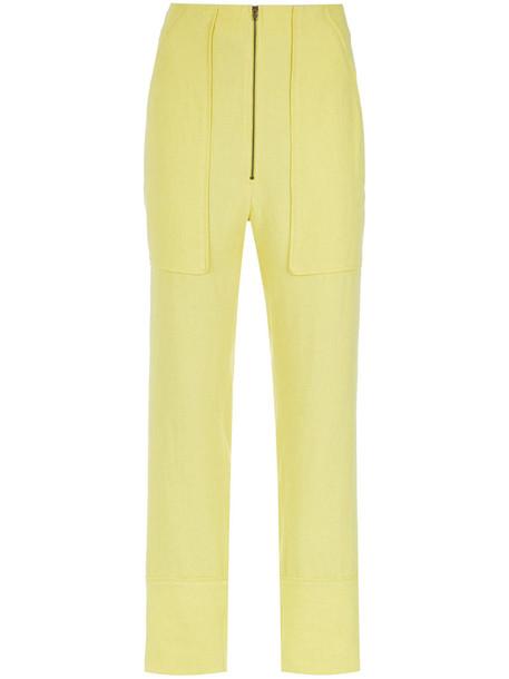 Olympiah - straight leg trousers - women - Linen/Flax/Viscose - 42, Yellow/Orange, Linen/Flax/Viscose