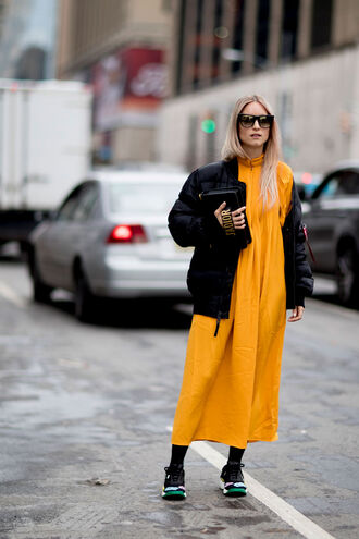 dress nyfw 2017 fashion week 2017 fashion week streetstyle midi dress yellow yellow dress jacket black jacket bomber jacket black bomber jacket sneakers sunglasses bag black bag