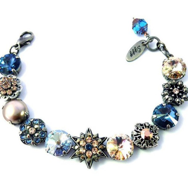 jewels siggy jewelry swarovski bracelets chunky bracelet flower bracelet  embellished filigree blue denim silk neutrals bling 2eef1c4ea6a4