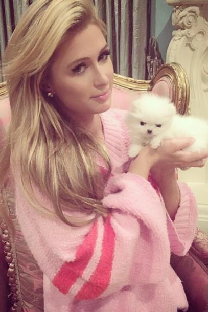 oversized sweater earrings paris hilton pink pink lipstick
