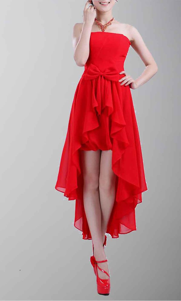 bow knot dress high low prom dresses strapless red dress red prom dress cute dress short party dresses short bridemaid dresses high low dress