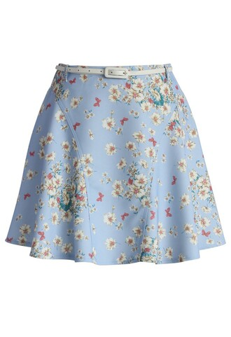 skirt chicwish whimsical flowers a-line paneled skirt in sky blue blue skirt a-line skirt floral skirt summer skirt spring skirt chicwish.com