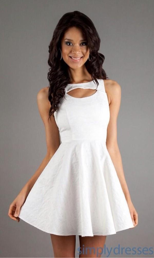 dress white skaterskirt dress sleeveless white dress front open cut