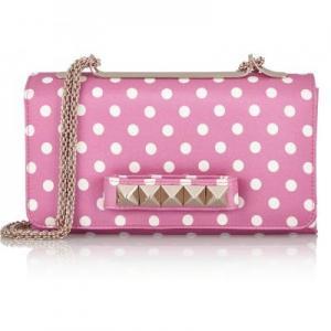 Valentino White and Pink Va Va Voom Shoulder Bag - Polka-Dot Faille - Sale